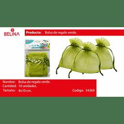 Bolsas de organza verde 10pcs 8*10cm
