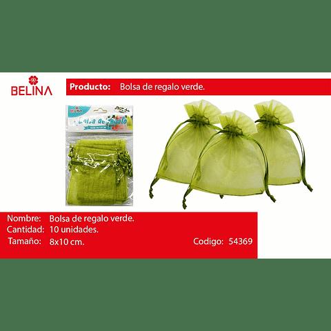 Bolsas de organza verde 10pcs 8x10cm