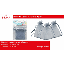Bolsas de organza gris 10pcs 8x10cm
