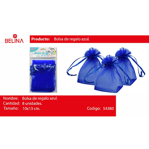 Bolsas de organza azul 8pcs 10x13cm