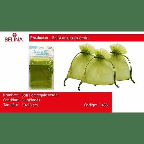 Bolsas De Organza Verde 8pcs 10x13cm