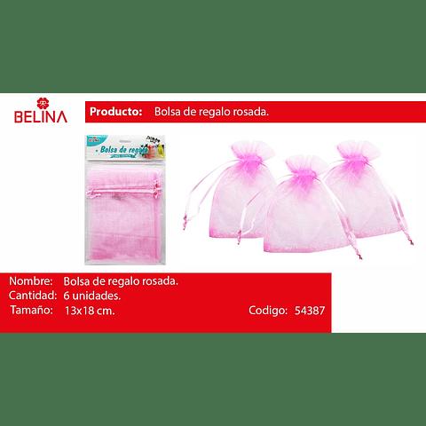 Bolsa de organza rosada 6pcs 13x18cm