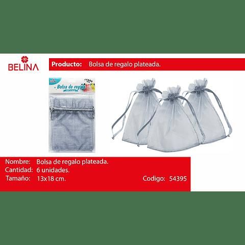 Bolsa de organza gris 6pcs 13x18cm