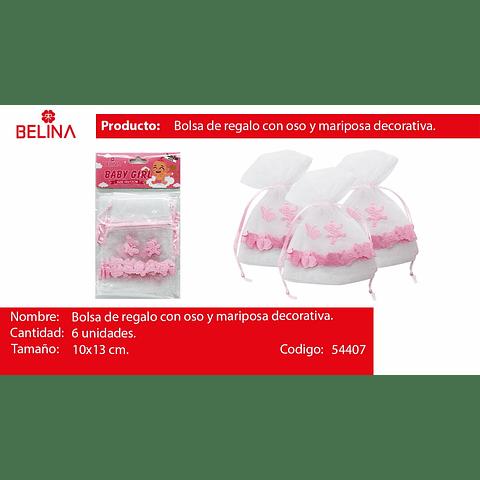 Bolsa De Organza Osos Rosa 6pcs