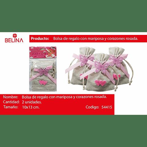 Bolsa de genero mariposa rosa 2pcs 10x13cm