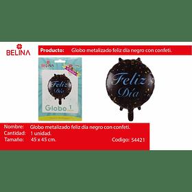 """Globo feliz dia negro 18"""" 45*45cm"""