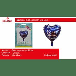 """Globo corazon azul love 22"""" 53x63cm"""