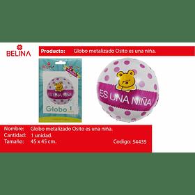 """Globo redondo rosa es una niña 18"""" 45x45cm"""