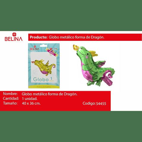 Globo Metalico Dinosaurio Verde/Rosa 40x36cm