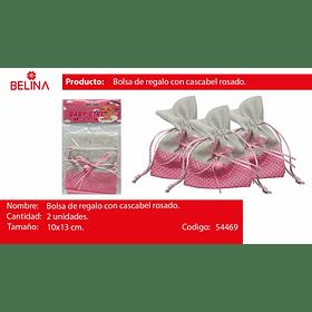Bolsa de genero rosa con cascabel