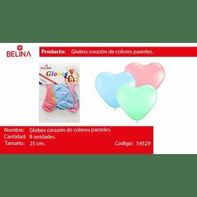 Globos corazon pastel 8pcs 25cm