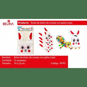 Bolsas de dulce conejo 14x23cm 12pcs