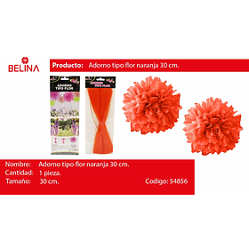 Adorno tipo flor naranja 30cm