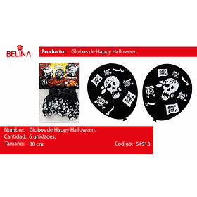 Globos de happy halloween piratas 30cm 6pcs