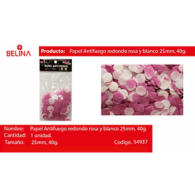 Papel anti fuego circulo blanco/rosa 25mm 40g