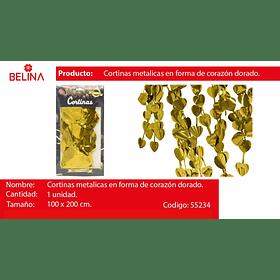 Cortina metalica corazones dorada 100*200cm