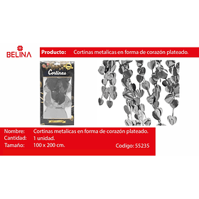 Cortina metalica corazones plateada 100cm*200cm