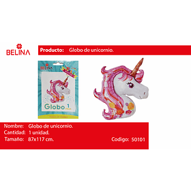 Globo unicornio rosa 87x117