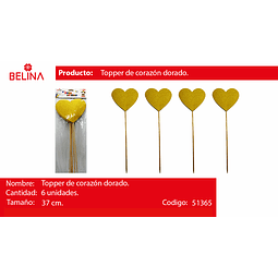 Topper de corazon amarillo 37cm 6pcs