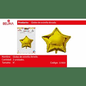 Globo metalico estrella oro 2pcs 9 pulgadas