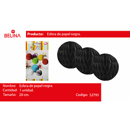 Esferas de papel negro 20cm