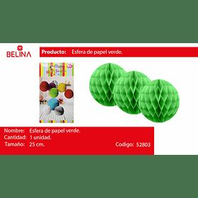 Esfera de papel verde 25cm