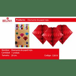 Diamante de papel rojo 20cm