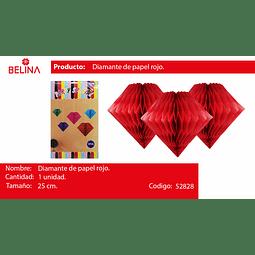 Diamante de papel rojo 25cm
