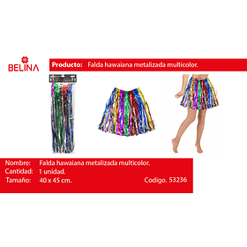 Falda hawaiana multicolor metalizada