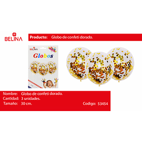 Globo de latex con confetti dorado