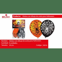 GLOBOS DE HALOWEEN ARA#AS 30CM 6PCS