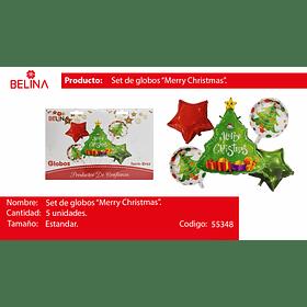 Set de globos arbol de navidad/estrellas 5pcs