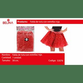 Tutu De Estrellas 30cm Rojo
