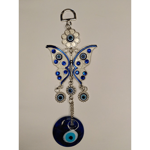 Colgante ojo turco mariposa blanca 18 CM