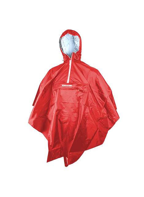 NORTHLAND 00-702793 PONCHO IMPERMEABLE 7000 RAINWEAR RED