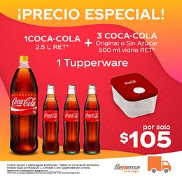 Promoción 1 Coca Cola Original 2.5L Ret + 3 Coca Cola Original 500ml VR + 1 Tupperware