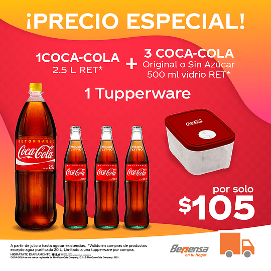 Promoción 1 Coca Cola Original 2.5L Ret + 3 Coca Cola Sin Azúcar 500ml VR + 1 Tupperware