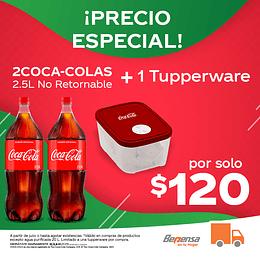 Promoción 2 Coca Cola Original 2.5L No Retornable + 1 Tupperware