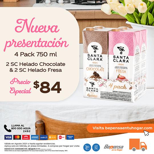 Promoción Santa Clara Fresa & Chocolate 750ml 4Pack