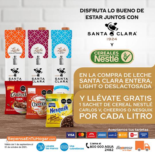 Promoción 3Pack Santa Clara Entera 1L y Cereales Nestlé