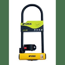 Candado Foss U-Lock 110x300mm Negro/Amarillo. Doble anclaje