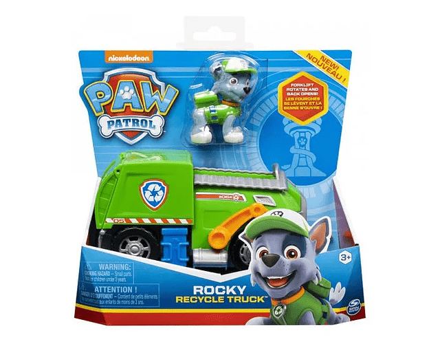 Paw patrol vehiculo basico + figura Rocky