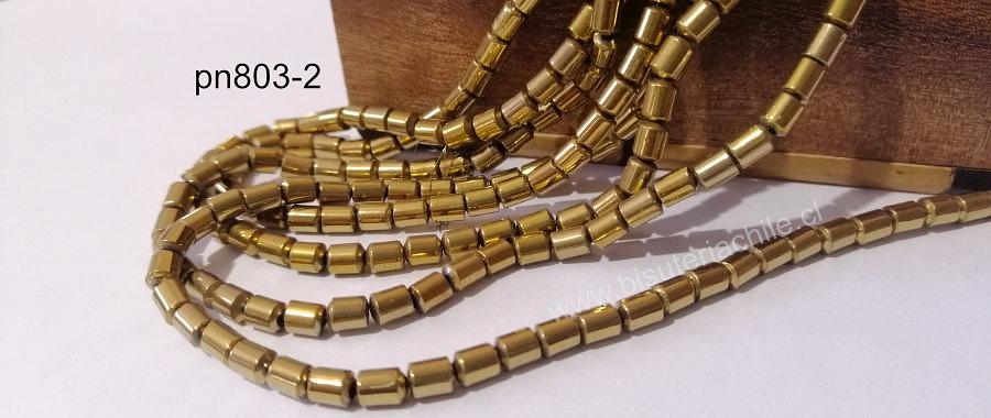 Hematite tubo nno imantada dorada, 6 x 4 mm, tira de 72 piedras aprox.