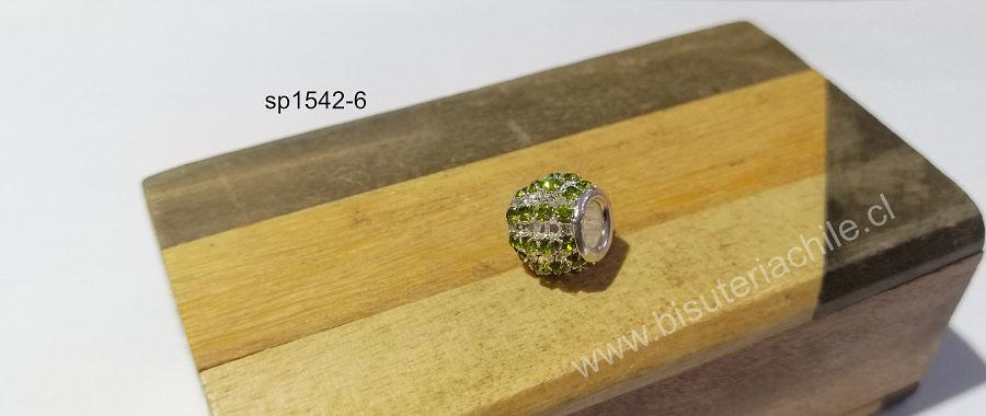 Separador con strass verde claro, 10 x 12 mm agujero de 5 mm, por unidad