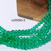 Cristal facetado verde 4 mm, tira de 140 cristales aprox.
