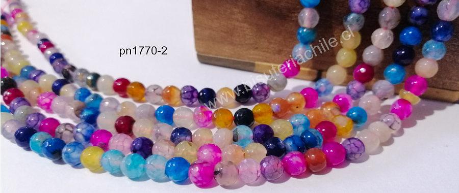 agata en multicolor en 6 mm, tira de 62 piedras aprox