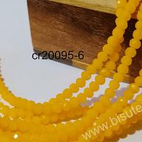 Cristal facetado amarillo 4 mm, tira de 140 cristales aprox.