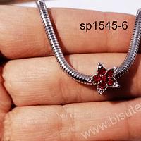 Separador en forma de estrella con strass roja, 11 x 7 mm, tipo pandora, por unidad