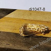vastago baño de oro de bolita, 30 mm, set de 10 unidades