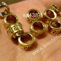 Separador dorado, 8 x 4 mm, agujero de 5 mm, set de 12 unidades